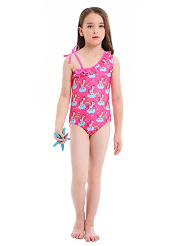 BhzHJ Toddler Girls One Piece Unicorn Swimsuits One Shoulder Adjustable Swimwear Bathing Suits