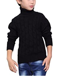 MFrannie Boys Thermal Turtle Neck Cable Knitted Thicken Casual Sweater