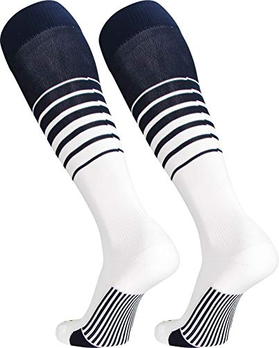 TCK Sports Elite Breaker Soccer Socks (Navy/White, Medium)