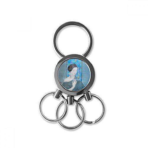 New Blue Beauty White Yarn Chinese Painting Stainless Steel Metal Key Chain Ring Car Keychain Keyring Clip Gift free shipping