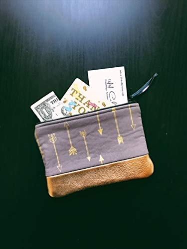 Arrow Metallic Gold Leather Coin Pouch, Coin Purse, Small Leather Zipper Pouch