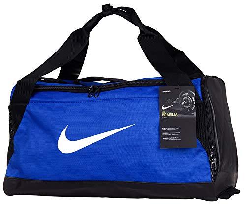NIKE Brasilia Training Duffel Just Do It Travel Team Tote Equipment Gear Bag (Royal Blue/White) MEDIUM