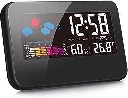 クロック時計 目覚まし時計 デジタル時計 デジタル湿度計 温度計 LCD大画面 湿度計 時間/月日/曜日/最高最低温湿度/温度傾向図表示 アラーム/センサー/バックライト