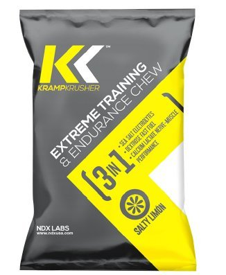Kramp Krusher ENERGY CHEWS (Pack of 12) 3in1 Extreme Training and Endurance Energy Gummies SEA SALT Electrolytes, Dextrose Fast Fuel, Calcium Lactate Nerve Muscle Performance for Training