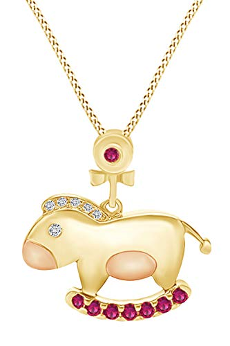 AFFY Round Shape Simulated Ruby & White CZ Rocking Horse 14k Yellow Gold Over Sterling Silver Two Tone Pendant Necklace ()