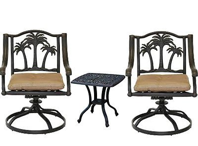 Aluminum Tree Bench - 3 Piece Bistro Set Cast Aluminum Patio Furniture Palm Tree Chairs Elisabeth End Table Desert Bronze