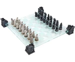 Vampire & Werewolf Glass Chess Set