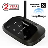 [Premium Version] Avantree Oasis Plus aptX HD Long Range Bluetooth Transmitter Receiver for TV Audio, Home Stereo, Optical Digital, AUX & RCA, Wired & Wireless Simultaneously, Dual Link Low Latency