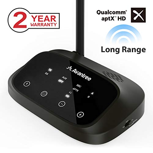 ([Premium Version] Avantree Oasis Plus aptX HD Long Range Bluetooth Transmitter Receiver for TV Audio, Home Stereo, Optical Digital, AUX & RCA, Wired & Wireless Simultaneously, Dual Link Low)