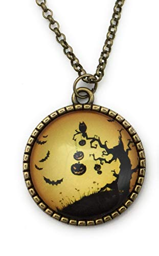 Halloween Necklace for Women - Pumpkins and Scary Tree - -