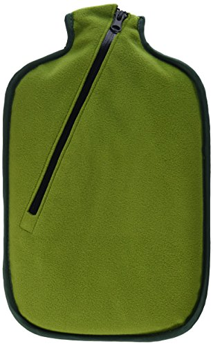 Hugo Frosch 2L Classic Hot Water Bottle with Zipper Cover Highest Quality - Made in Germany (green)