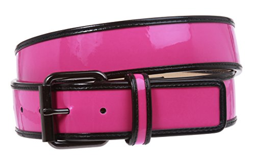 Ladies Trimmed Patent Leather High Waist Fashion Belt Size: S/M - 32 Color: Hot (Black Patent Leather Belt)