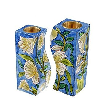 (Lilies, Floral Hand painted Shabbat Candlesticks by Yair)