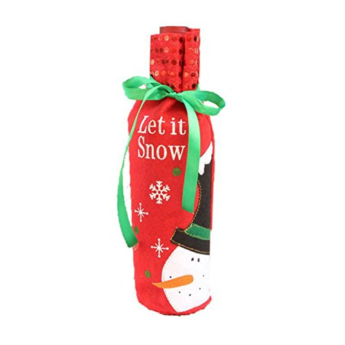 [Fedi Apparel 1pc Christmas Wine Bottle Bag Party Decoration Bow-Knot Snowman Christmas Tree Santa Claus Bottle Cover Bag Xmas Gift] (Womens Homemade Snowman Costume)