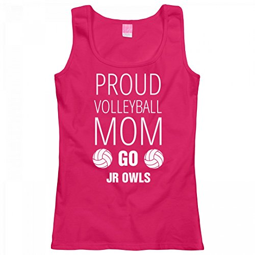 Proud Volleyball Mom Go Jr Owls: Ladies LAT Relaxed Fit Scoopneck Tank Top (Proud Mom Raglan Jr)