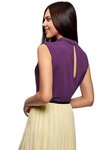 en Tissu 8800n Violet Ultra Femme Fluide Top Basique oodji nWRAavxf