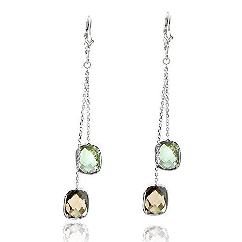 14k White Gold Chandelier Gemstone Earrings with Cushion Cut Green And Smoky Quartz (Earrings Chandelier Topaz Smoky)
