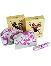 Peony Soap and Lip Balm Set by Tree Frog Soaps of Distinction (Made in BC, Canada)