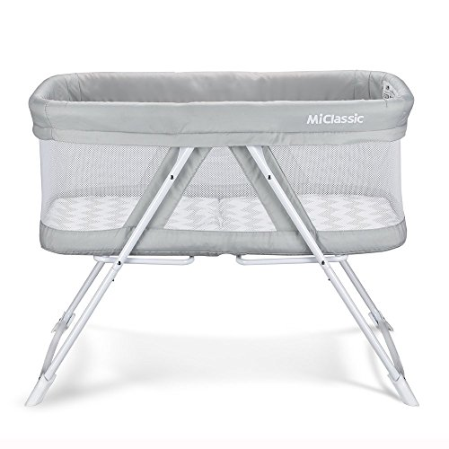 2in1 Stationary&Rock Mode Bassinet One-Second Fold Travel Crib Portable Newborn Baby,Gray Da Vinci Cradle Pad