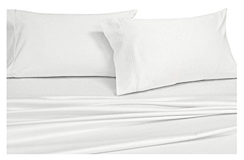 Solid White Split-King: Adjustable King Bed Size Sheets, 5PC Bed Sheet Set, 100% Cotton, 300 Thread Count, Sateen Solid, Deep Pocket, by Royal Hotel