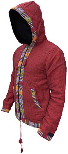 Zip Rouge Cotone Uomo Kathmandu Inverno Rivestimento Pile Etnica Little In Nepalese Con Cappuccio Stampa giacca Ofal wR7xqnZZTA