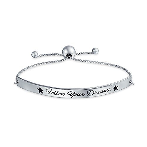 Follow Your Dreams Inspirational Message Bolo Bar Bracelet Adjustable 925 Silver 11 Inch by Bling Jewelry