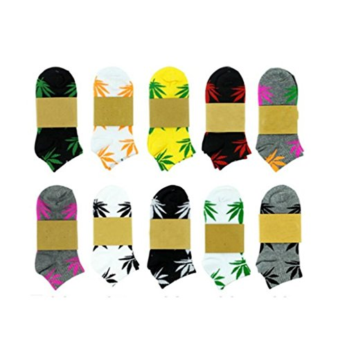 5 Pair Unisex Marijuana Weed Leaf Cotton Short Boat Warm Socks Color Varies