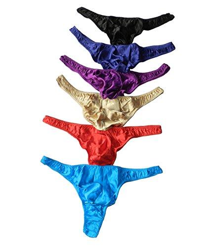 Qianya Men's Silk Underwear Thong Silk Briefs Sexy 100% Silk 6 Pairs in One Economic Pack (M)