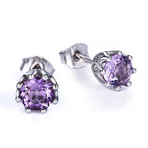 - Sterling Silver February Birthstone Stud Earrings with Natural Purple Amethyst for Girls, 2.86CT