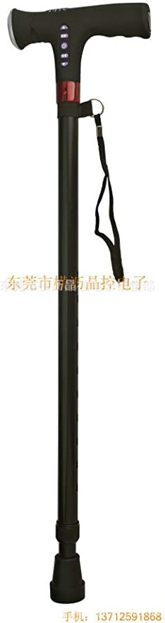 ASD MP3 Música aligerar iluminación bastón Smart caminar ayuda personas mayores escalada telescópico caña de alarma multifunción, Thick 38cm negro