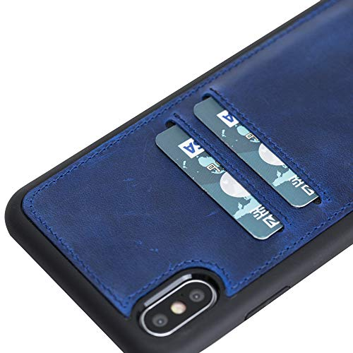 Venito Cosa iPhone Xs MAX Leather Case, Snap-On Back Cover with Credit Card Slots for iPhone XSMAX | Slim and Lightweight | Handcrafted Premium Full Grain Leather (Antique Dark Blue)