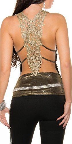 In-Stylefashion - Camiseta sin mangas - para mujer dorado