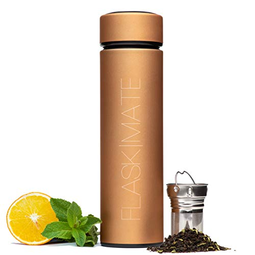 FLASK|MATE Multi-Function Travel Mug - Hot Coffee & Tea Infuser Bottle - Insulated Cold Fruit Infused Flask - Matte Touch Double Wall Stainless Steel Thermos - 16.9 oz Leak Proof - Thermos Ounce 16.9