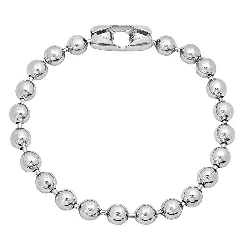 6.5mm Smooth Rhodium Plated Military Style Ball Link Chain Bracelet, 7