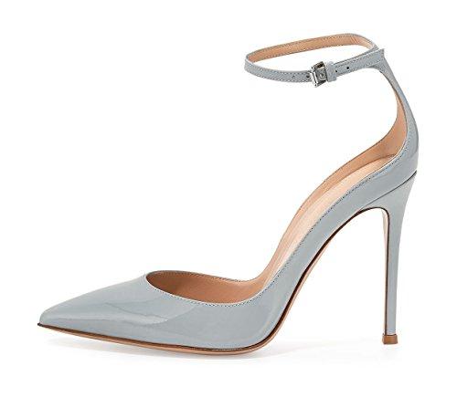 Col Soireelady donna con Donna Tacco Scarpe Scarpe Scarpe da caviglia Grigio Chiusa alla Punta cinturino wIxqIr