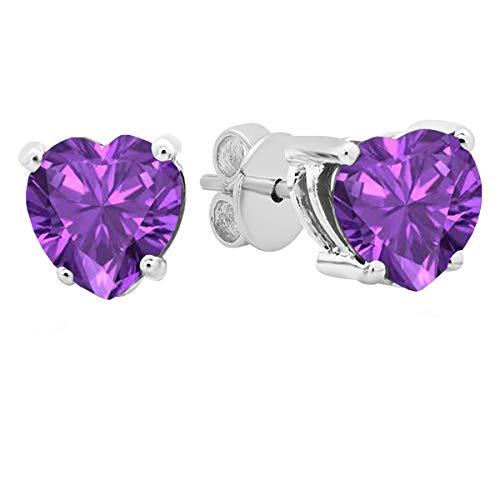 Dazzlingrock Collection 18K 5 MM Each Heart Amethyst Ladies Stud Earrings, White Gold