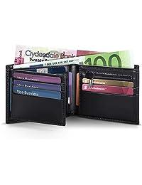 KENBEST Billetera hombre, cartera hombre, cartera hombre piel, carteras hombre con monedero, cartera inteligente - 1.5 x 11.5 x 8.5cm con caja de regalo, cuero genuino negro