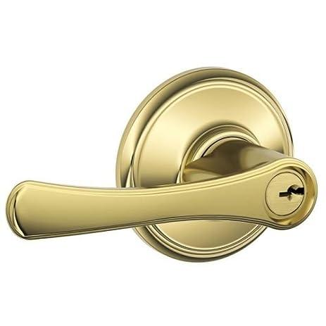 Schlage F51 Vla Lq Avila Keyed Entry Door Lever Polished Brass