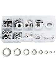 360 PCS 304 Stainless Steel Flat Washer Assortment Set, 8 Size Include M2 M2.5 M3 M4 M5 M6 M8 M10