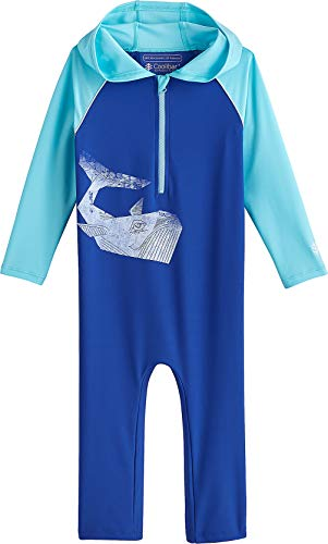 Coolibar UPF 50+ Baby Hooded One Piece Swimsuit - Sun Protective (18-24 Months- Baja Blue Whale)