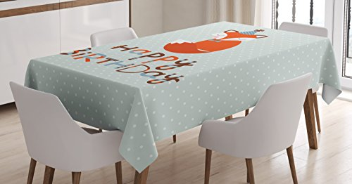 "Ambesonne Birthday Tablecloth, Fox Sleeping on Dotted Backdrop with Greeting Happy Message, Dining Room Kitchen Rectangular Table Cover, 52"" X 70"", Green Orange"