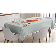 Birthday Decorations Tablecloth by Ambesonne, Cute Fox Sleeping on Dotted Backdrop Greeting Message, Dining Room Kitchen Rectangular Table Cover, 52W X 70L Inches, Orange Light Blue Beige