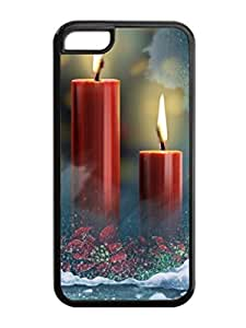 Iphone 5C Case,Christmas Red Flowers Candles Iphone 5C TPU Silicone Cases,Phone Case Apple Iphone 5C Soft Skin Case
