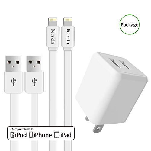 Chargers, KerrKim Usb Wall Charging Adapter Travel Wall Chargers with 2-Pack 5-Feet Lightning Cables Charge Sync for iPhone X, iPhone 8, iPhone 7, iPhone 6, iPhone 5, iPad Mini & More