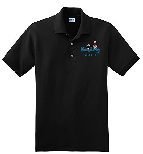 Personalized custom embroidered Bowling design on polo shirt, mens small, black