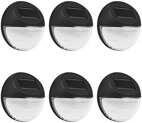 Fence Solar Lights 6Pcs Pack White Color Solar Deck Lights Outdoor Security Lamps for Patio Stairs Garden Pathway 2LED Design