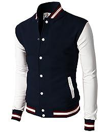 H2H Mens Slim Fit Varsity Baseball Bomber Cotton Lightweight Premium Jacket