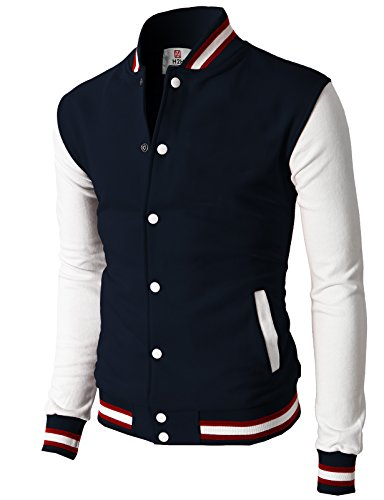 H2H Mens Slim Fit Varsity Baseball Bomber Cotton Lightweight Premium Jacket  Cmoja082-navy Small