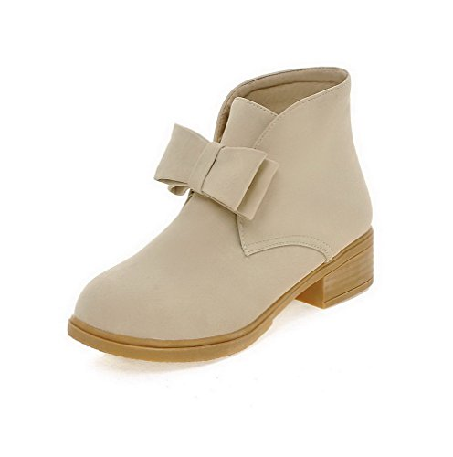AllhqFashion Womens Low-Heels Solid Round Closed Toe Frosted Pull-On Boots with Bows Beige 9SFhR4
