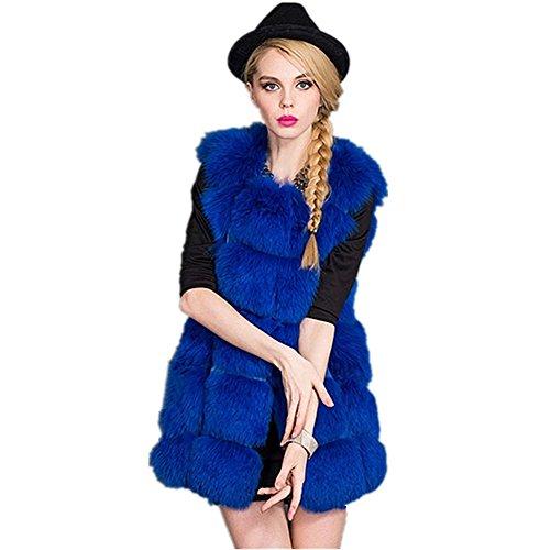 D-COOL Women's Gilet Outwear Long Slim Vest Faux Fox Fur Waistcoat Jacket
